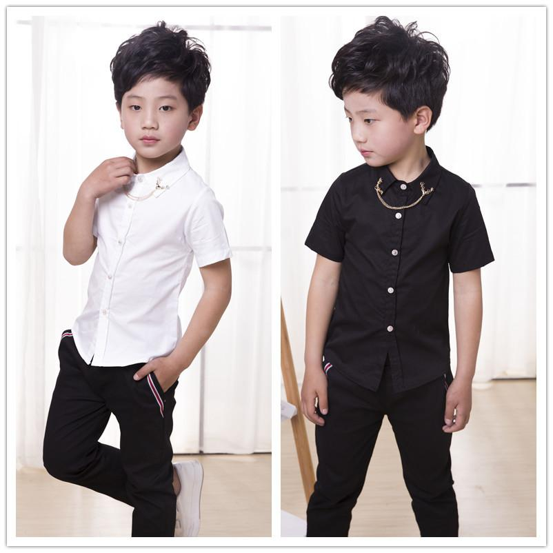 Summer Boys Shirt Short Sleeve Solid Fashion Kid Clothes Turn Down Collar Tops for Boys Kids White Shirts 6 8 10 12 14 Years CX200722