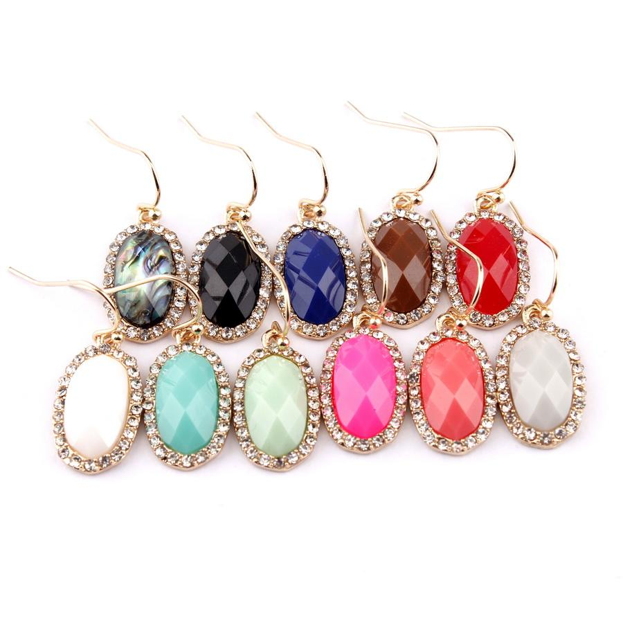 Kendra Style Pave Shiny Crystals Rhinestones Abalone Shell Faceted Resin Oval Dangle Drop Statement Oval Cute Small Drop Earrings