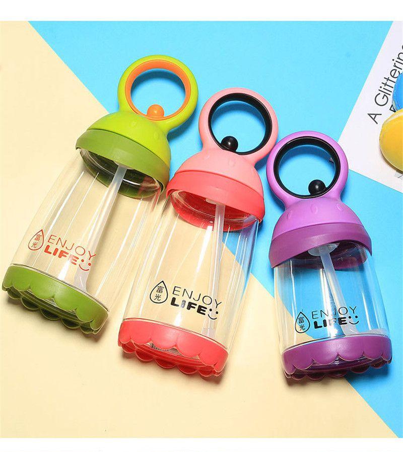 Дети пластиковых бутылки воды 380ml Студент Спорт Открытой вода Drinkware течебезопасна Бутылка для воды Студента с соломкой