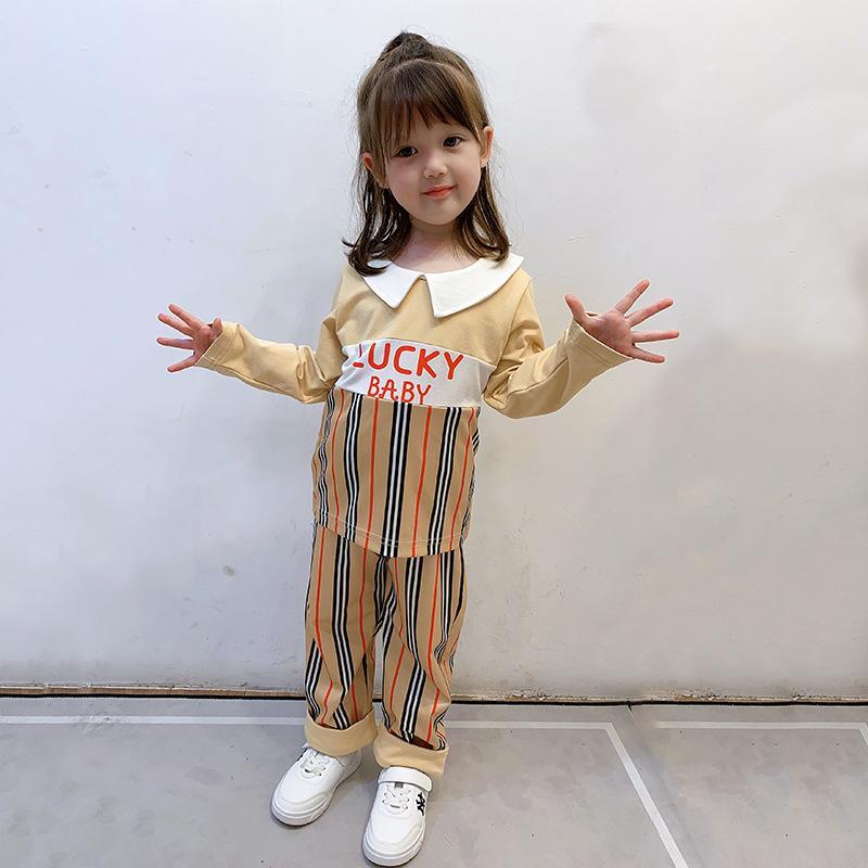 Abiti Designer Girls 2020 Autunno Bambini Abbigliamento Set di abbigliamento per bambini T-shirt a converica a maniche lunghe a strisce per bambini + Pantaloni 2pcs Suits S385