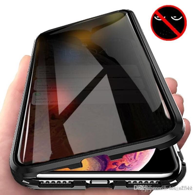 New Magnetic Ausgeglichenes Glas Privatleben Metall-Telefon-Kasten Coque 360 Magnet Antispy-Schutzüberzug für iphone 12 11 Pro XR XS MAX X 8 7 plus