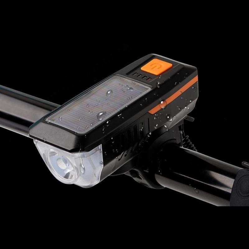 Многофункциональный велосипед фары Водонепроницаемый перезаряжаемые солнечный свет USB с рогом 3 Освещение Режимы дожде в условиях тумана