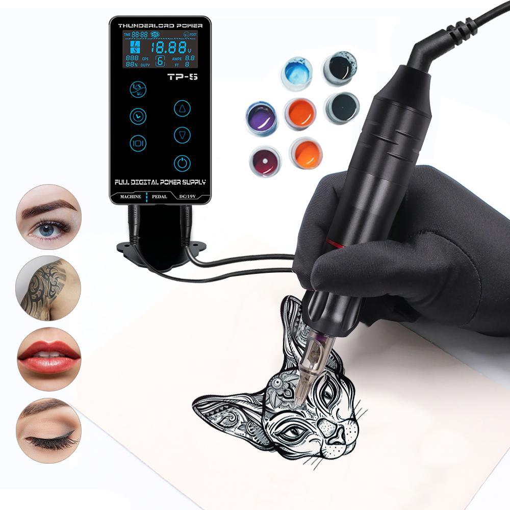 Komplettes Tattoo-Maschinen-Kit LCD-Touchscreen-Stromversorgungsmaschine mit Nadel für Tattoo-Künstleranfänger