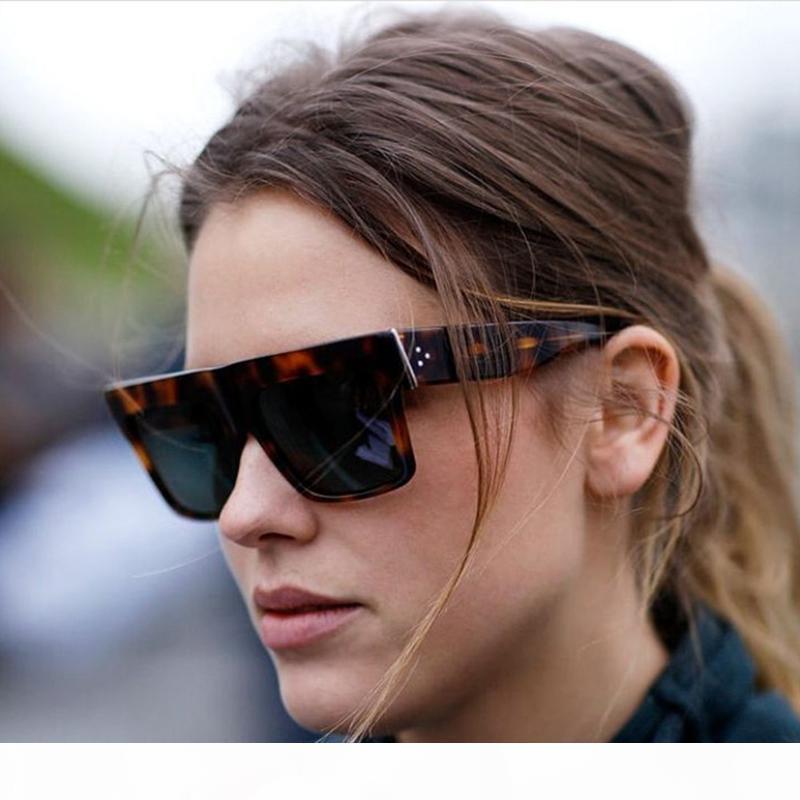 E Hapigoo famosa celebridade Itália Marca Designer Kim Kardashian Praça Sunglasses Mulheres Vintage Flat Top Sun Glasses Para Femaledr35624