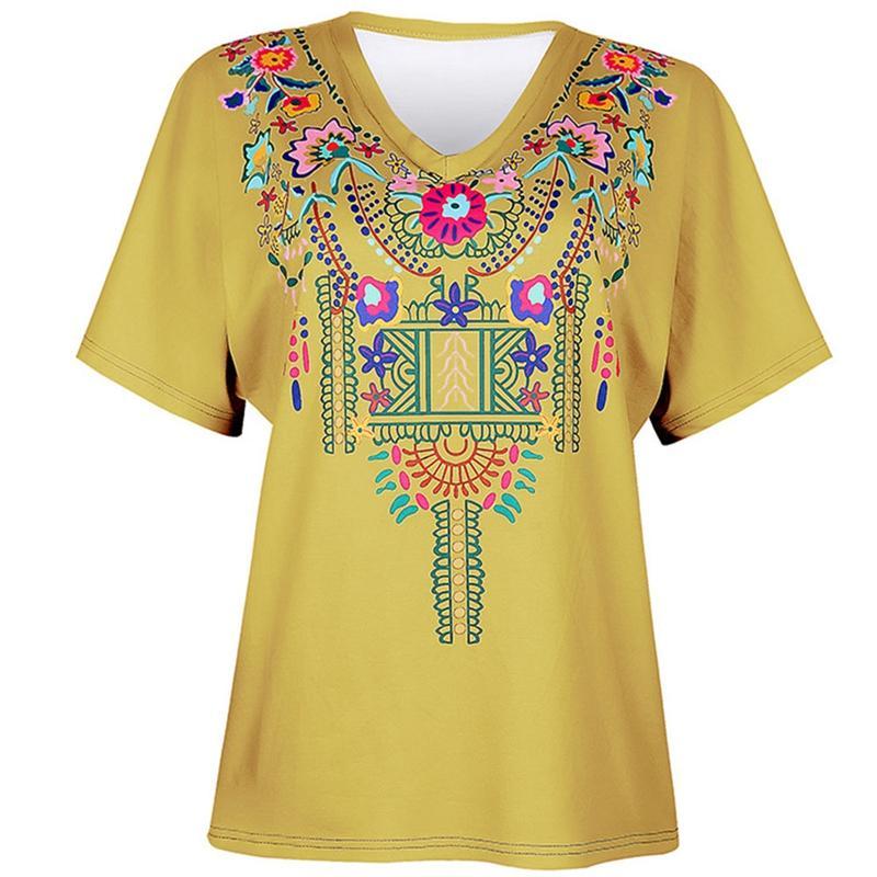 Bordado de las mujeres del verano de la camiseta de flores de impresión con cuello en V manga corta de las muchachas rematan las camisetas floral de las señoras Camiseta