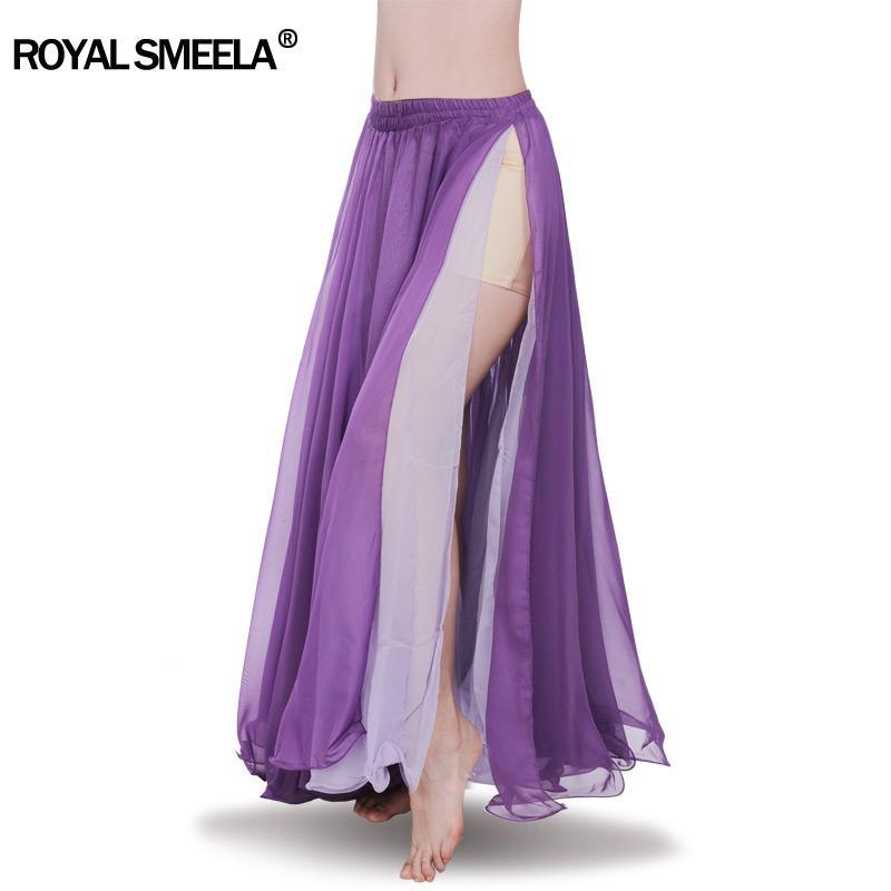 Yeni Big Tam Göbek dansı Etek Profesyonel Genişleme Bellydance Elbise Performans Kostüm 2 Slits Çift Renk Üst şifon etekler