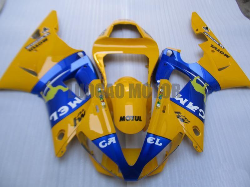 Oi-qualidade carenagens de injecção para Yamaha R1 YZF1000 00 01 2000 2001 carenagens YZF1000 01 02 Motocicleta azul amarelo kits carenagem
