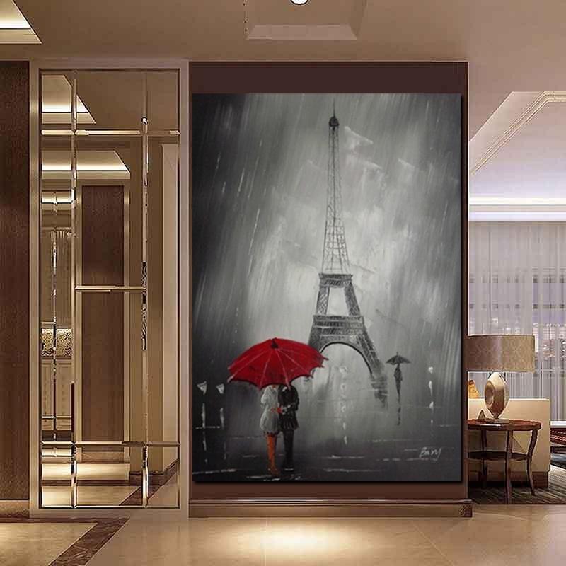 Эйфелева башня Холст Картина маслом Романтический Париж Город Мода Плакат печать Wall Art Красный зонтик Картинки для гостиной Home Decor стены