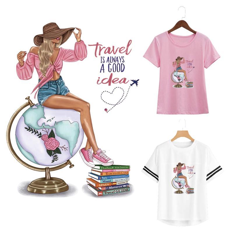 Прохладных наклейки патч путешествие девушка наклейка Diy Аксессуар теплопередачи железа на модную одежду Parches глобус книга