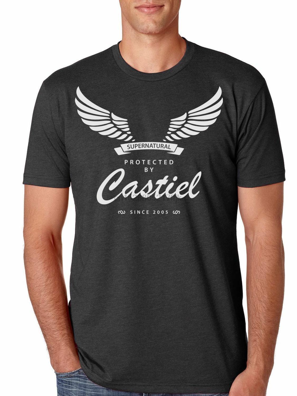 Protetto da Castiel Supernatural camicia degli uomini Nell'estate del 2020 Moda Stampato Pop dell'uomo del cotone del T divertente Tee Shirts