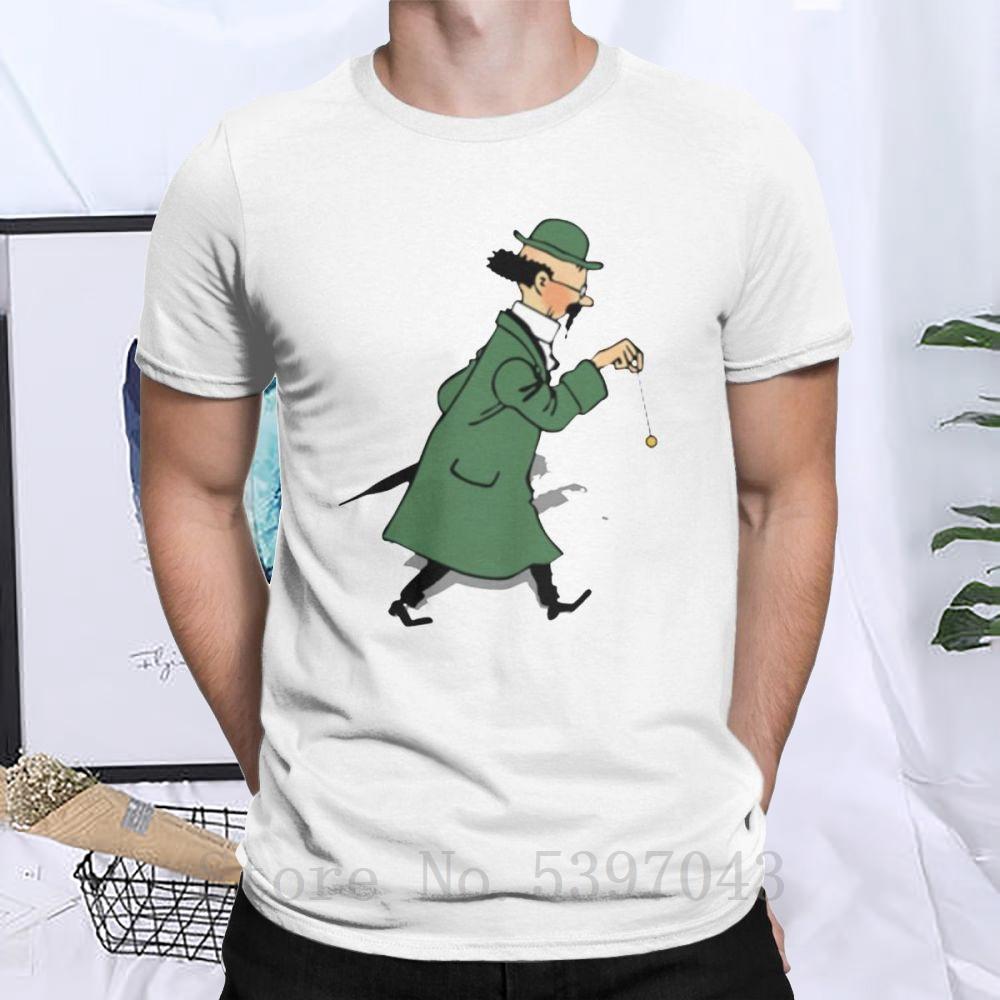 Männer Tintin Professor Calculus T-Shirt Die Abenteuer von Tim und Struppi Cotton Neue Ankunfts-Neuheit-Kleidung T Kurzarm T-Shirt