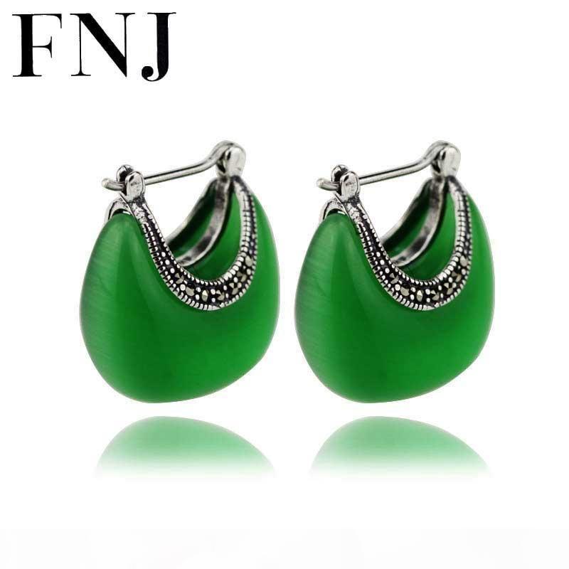 925 orecchino d'argento White Opal Green Stone S925 Sterling Silver boucle d'oreille orecchini di goccia dell'acqua per i monili delle donne