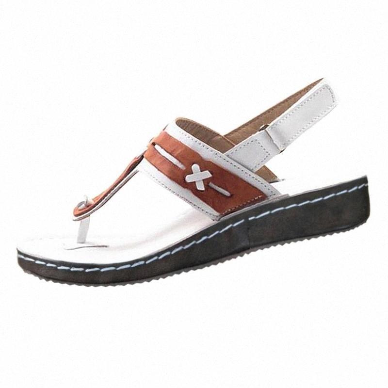 Zapatos de mujer verano de las señoras sólido sandalias Sandalia Mujer Femenina 2020 de la hebilla ahueca hacia fuera la cuña de la manera sandalias de los calzados informales PWI5 #
