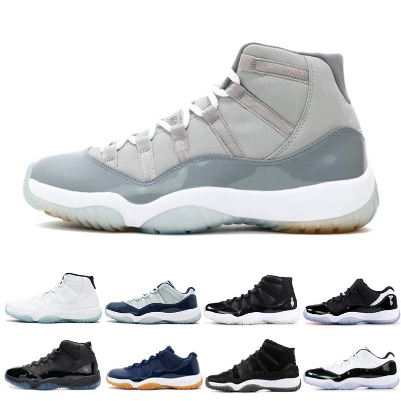 Cinza frio Hot venda 11 11s tênis de basquete Concord Baixa Gama Azul Georgetown Laranja Marinha Trance homens Gum moda feminina formadores sneakers