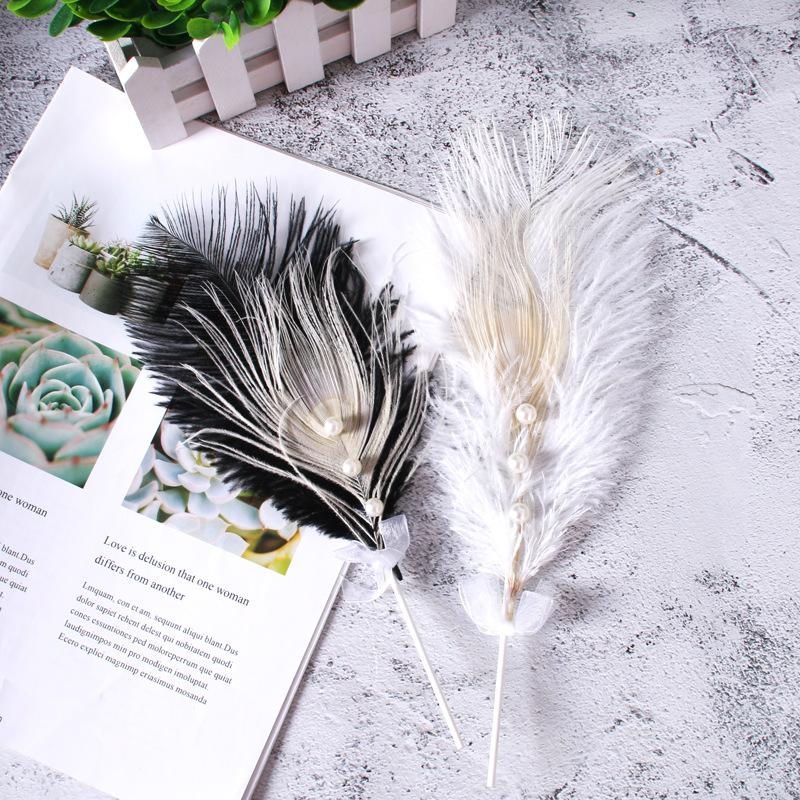 Pearl Ostrich Swan Feather Cake Decor Ice-cream Cupcake Toppers Picks Kids Birthday Party Wedding Valentine's Day Decoration