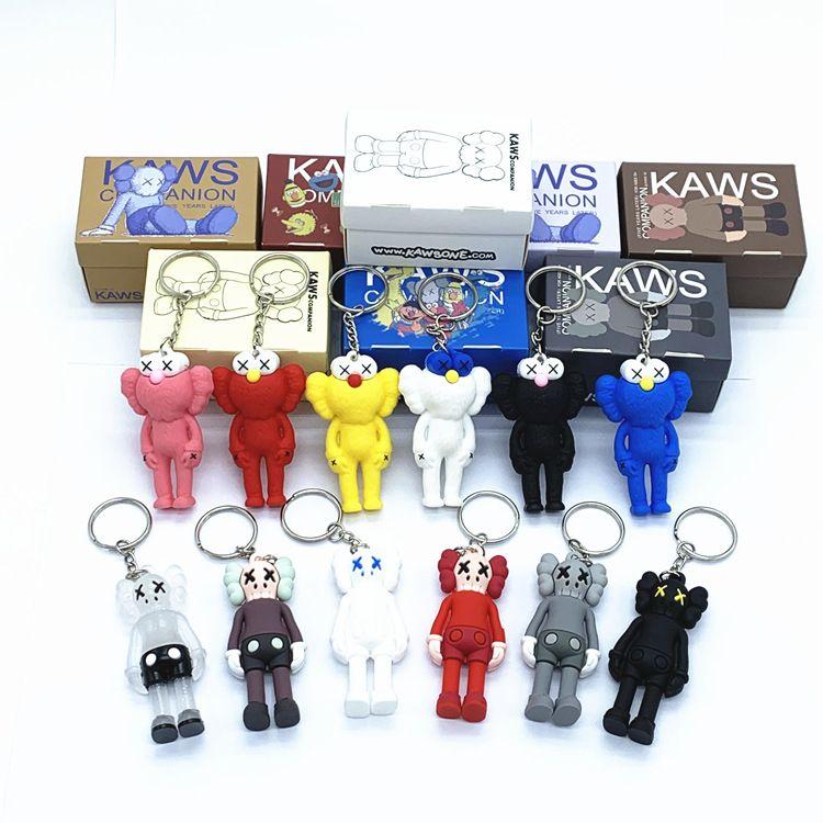 KAWS muñeca BFF Llavero estéreo 3D Colección del cráneo colgante Brian Calle Acción Arte Figura versión limitada del modelo de juguete de regalo correas Nuevo encanto del bolso