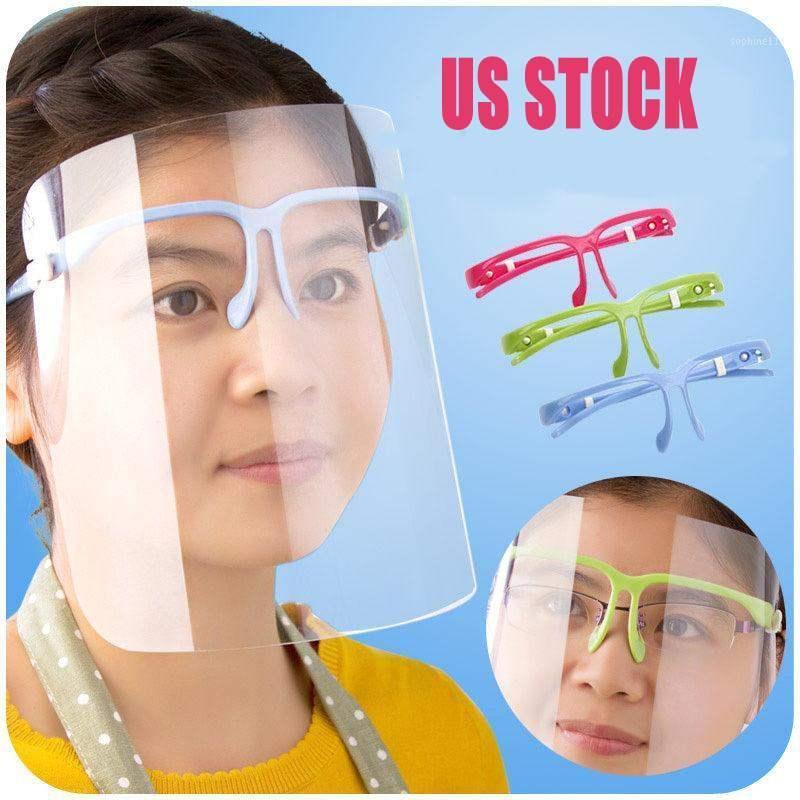 US STOCK schützende transparente Masken Neuheit Küche kochende Anti-Oil Splash Clear Face Mask Face Shield-Schutz-Cycling Caps Außen