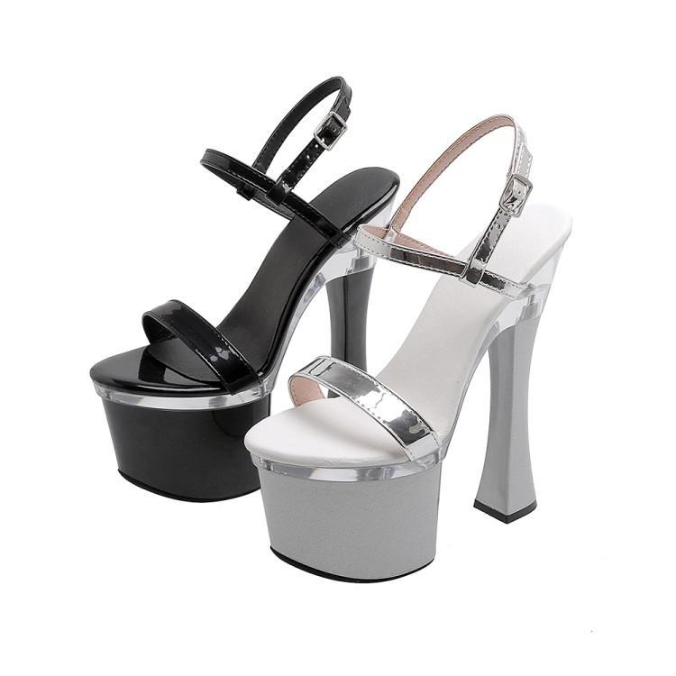 Super Sexy Women Platform Sandals Square High Heels Sandals Open Toe Black Silver Night Club Shoes Women US Plus Size 4-9