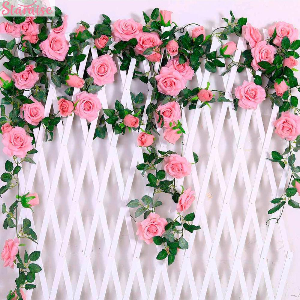 Staraise 2.4M/lot Silk Rose Flower With Ivy Vine Artificial Flowers for Home Wedding Decor Decorative Artificial Flower Garland