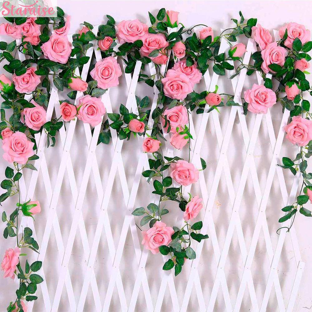 Staraise 2.4M / lot Silk Rosen-Blume mit Efeu-Rebe Künstliche Blumen für Haus Hochzeitsdeko Dekorative künstliche Blume Garland