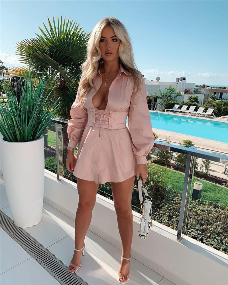 Женская рубашка 2020 Дизайнер платье сплошной цвет высокой талией в стиле ретро Bandge платья вскользь Женщины Одежда
