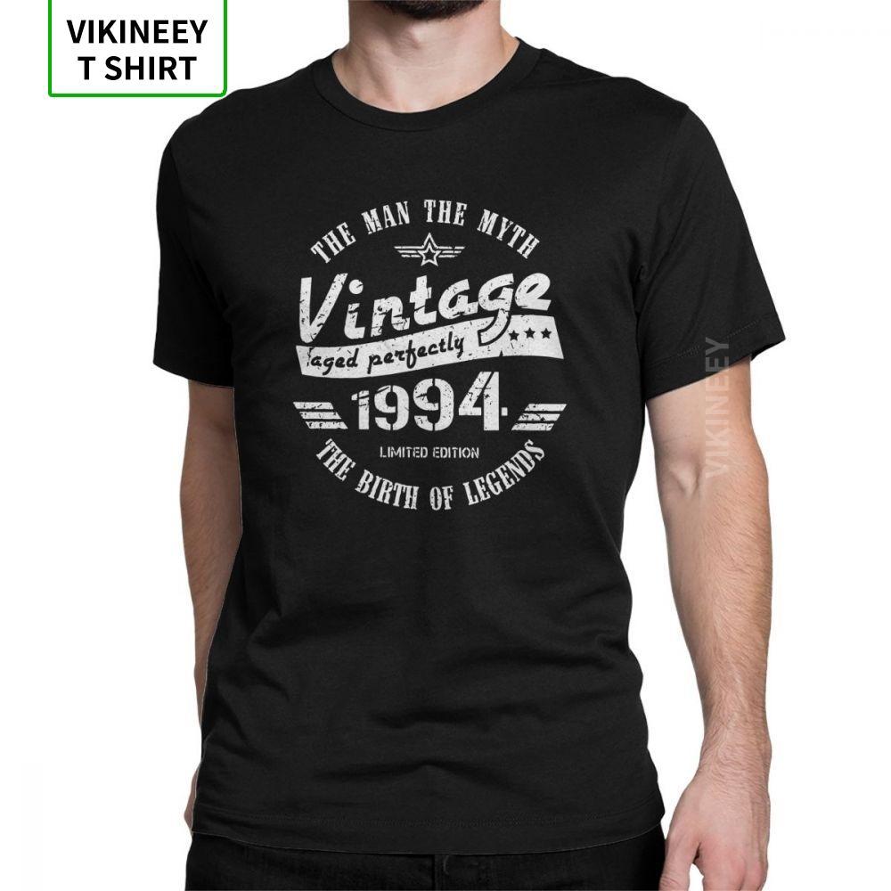 Урожай 1994 двадцать пятый день рождения тенниска человека подарков для мужчин футболки Slim Fit шею с коротким рукавом Топы 100% хлопок Тис черный