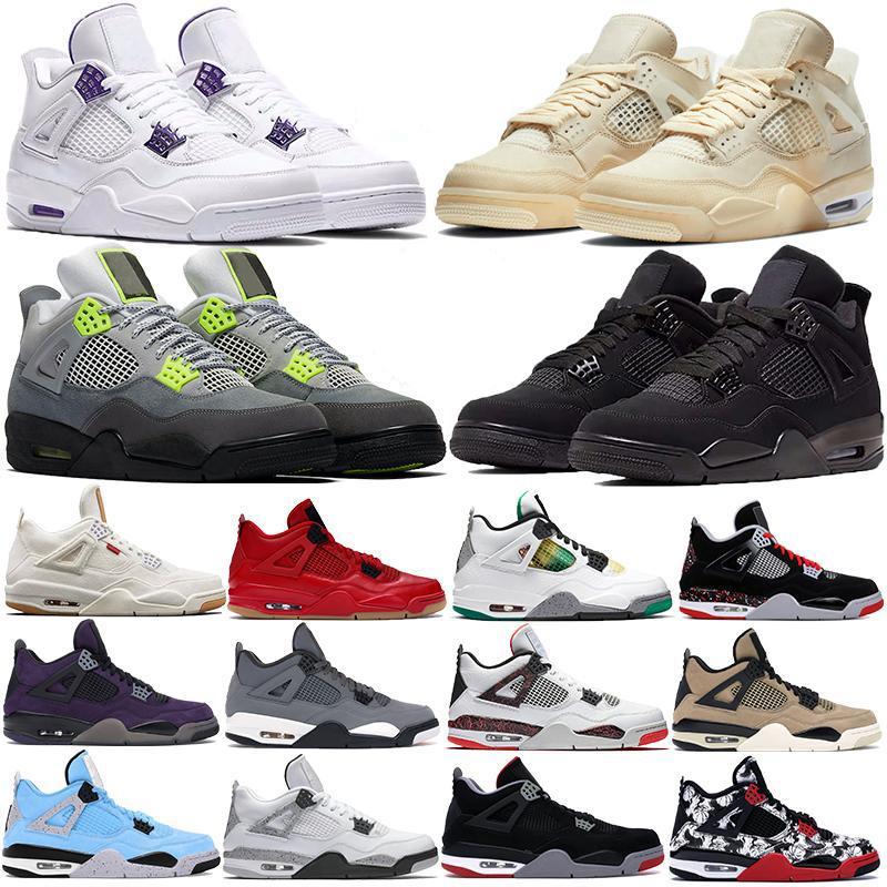 Nueva 4S vela blanca SE neón 2020 gato negro Zapatos de baloncesto de Jumpman 4 metálicos formadores verdes Travis Scotts púrpura de los hombres las zapatillas de deporte