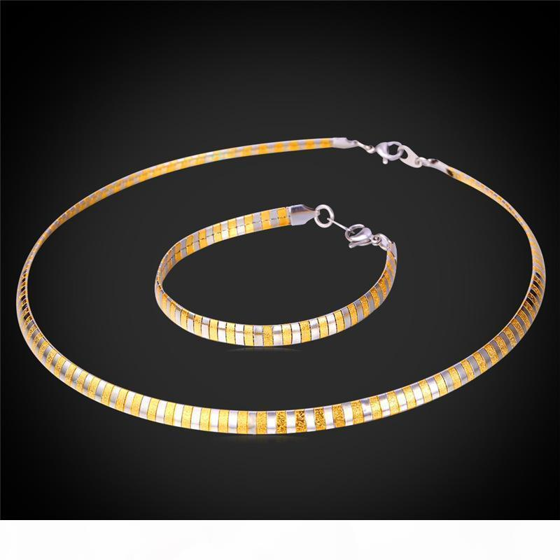 Unisex Stainless Steel Collar Necklace for Women Men Gold Plated Choker Fancy Snake Chain Bracelet Jewelry Set