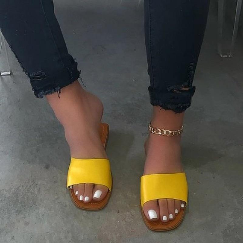 Verano mujeres del leopardo del Pu Zapatillas Zapatos planos de cuero con puntera abierta romana sandalias de las señoras de las chancletas de playa al aire libre ocasional Mujer Diapositivas
