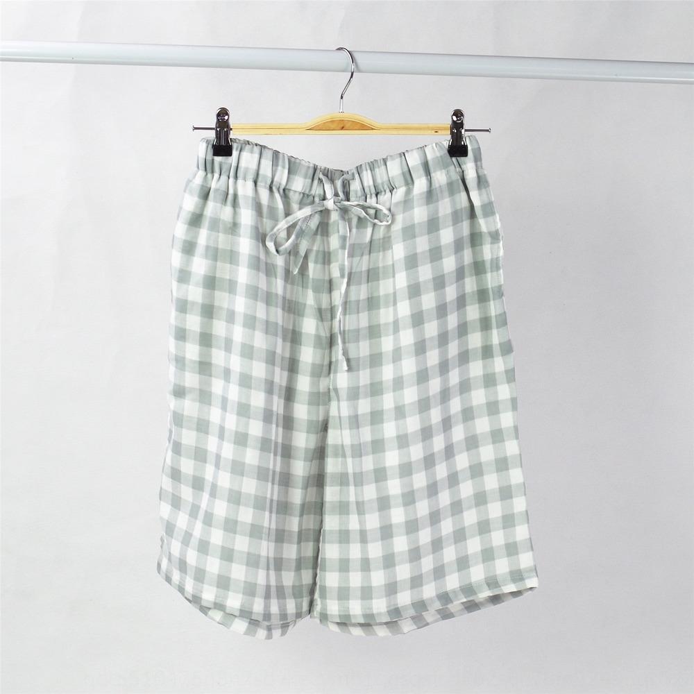 Shorts para homens casa de verão de camada dupla de gaze pijamas respirável calças curtas calças de praia praia pantscotton