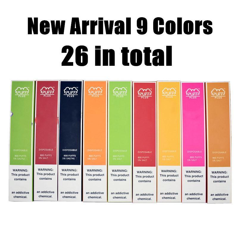 26 색 퍼프 플러스 일회용 vape 장치 800 퍼프 3.2ml 포드 vape 카트리지 퍼프 바 전자 담배