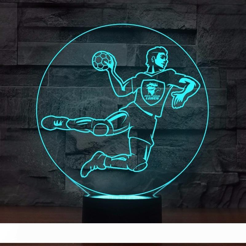 7 Colors Change 3D Luminous Handball Players Shape Led Lighting Home Decor Night Light Kids Touch USB Lampara Table Lamp Gifts