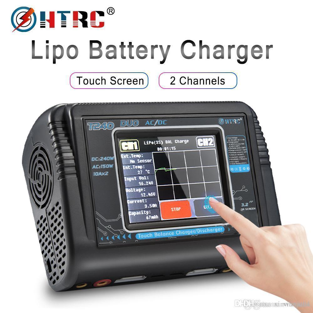 HTRC T240 DUO RC Chargeur AC 150W DC 240W à écran tactile Dual Channel Balance des Déchargeurs Pour les modèles RC Toys Lipo batterie 66