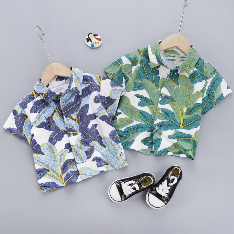 2020 nouveau bébé feuille fleur chemise cravate cardigan à manches courtes garçons une pièce chemise mince robe de mode de vêtements pour enfants robe de laine