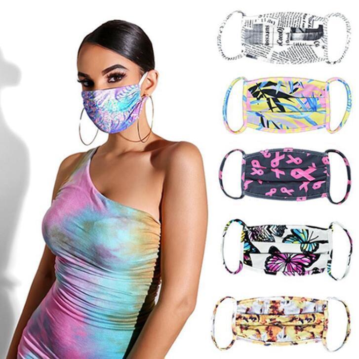 Tie-краситель маска бабочки Листья Цветы 3D Printed Mouth маски против пыли и Haze дышащего лица Рот Обложка CGY216