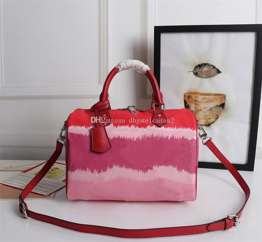 Genuine Luxo SeriesDesigner Impressão Tie-tintura Bolsas Cereja Mulheres Classic Estilo Saco Rosa Three-Color Bolsas De Couro Travesseiro Ombro VMQ