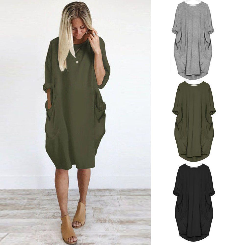 Womens Fashion Pocket Loose Dress Ladies Crew Neck Casual Long Dress Plus Size