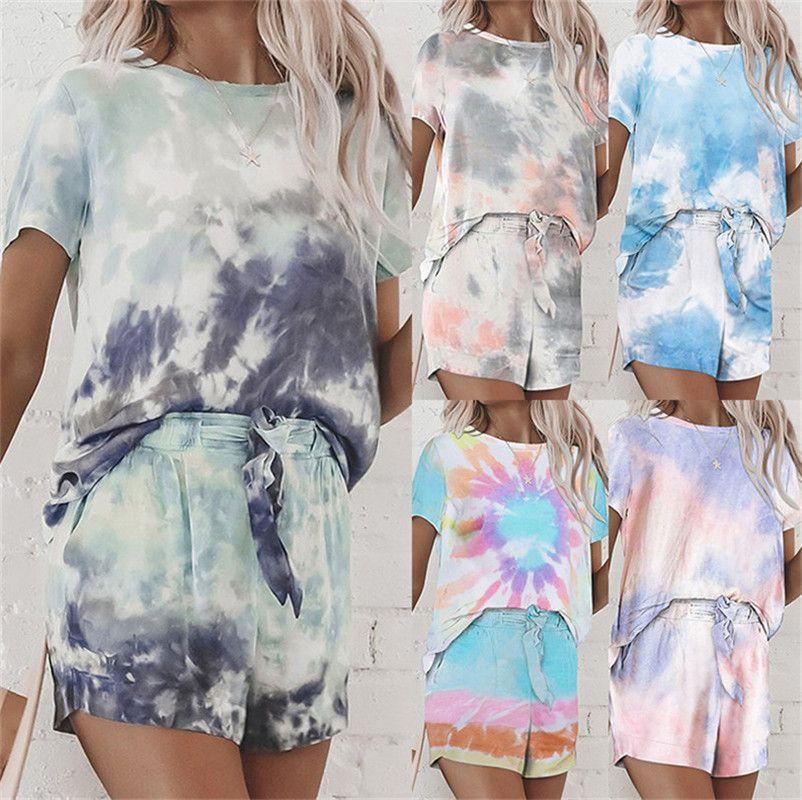 Женщины Tie-Dye тенниска и шорты Комплект Tracksuit с коротким рукавом + шорты Двухсекционной одежды костюма халат лето дама пижамы наборы LY710