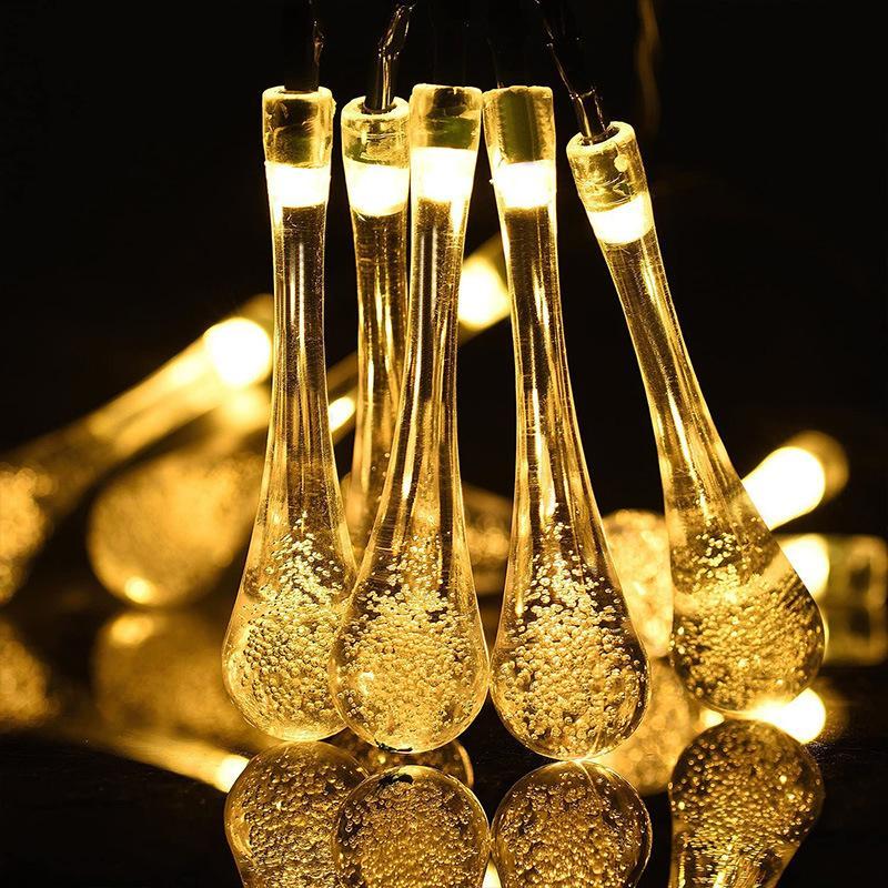 Cuerdas LED de la lámpara de modelado de agua con energía solar, luces de gota de agua led impermeable IP65 luces de decoración para patio de decoración de jardín