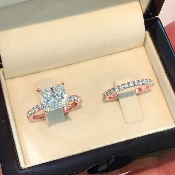 광장 다이아몬드 공주 세트 링 18K 골드 도금 진짜 다이아몬드 약혼 반지 소녀의 날 선물 무료 배송