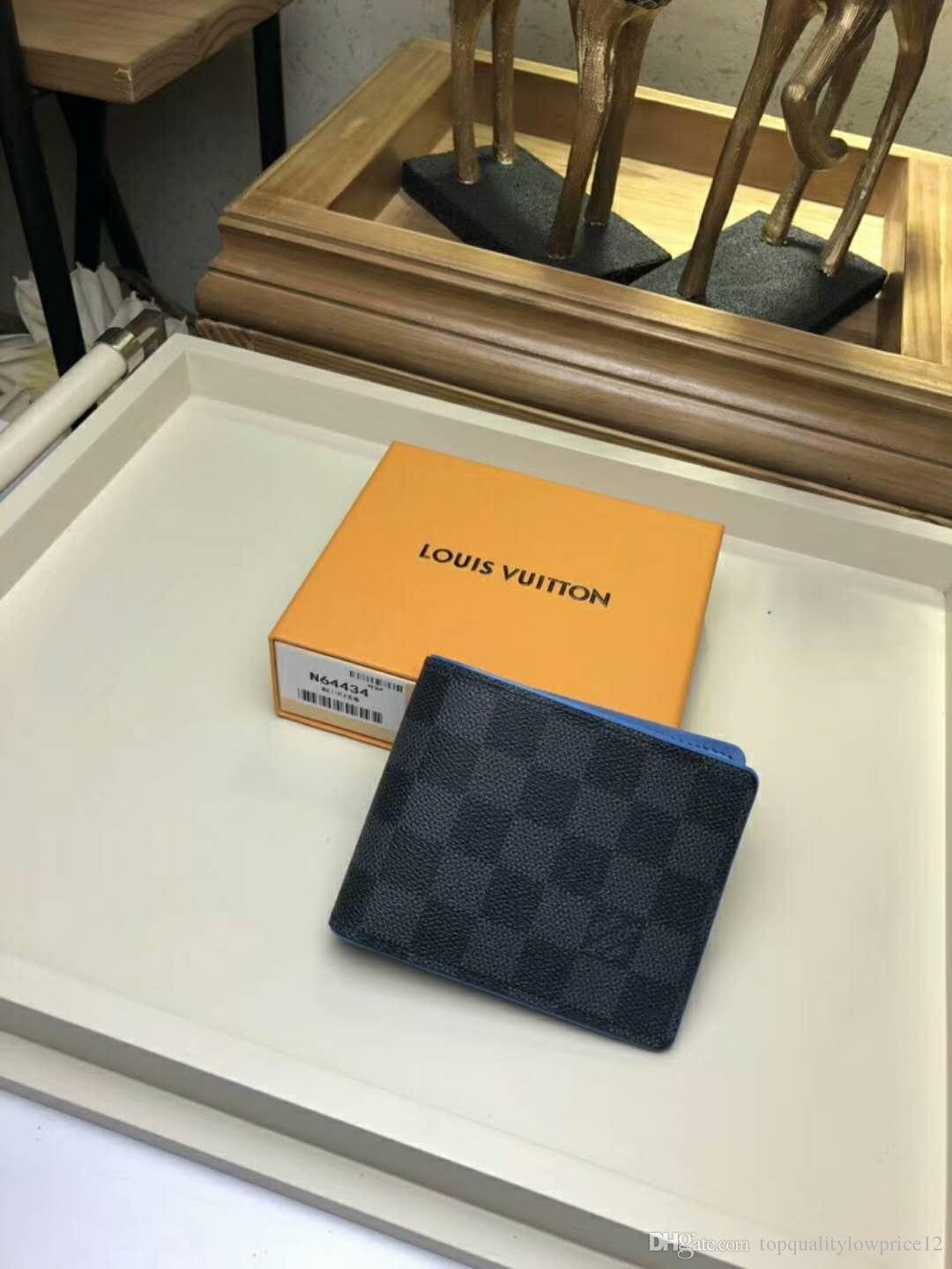 Fashio carteira clássico letra luxo mulheres designer com titular do cartão caixa genuínos homens de couro purese marca N64434 frete grátis