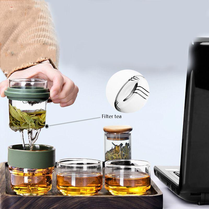 Bottiglia d'acqua borsa da viaggio Chinese Tea Set Gaiwan Teiera Tazzine Fiera tazza di vetro Tea Set in ceramica Fot regalo Puer Bicchieri