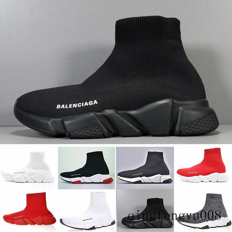 Cheap progettisti Speed Trainer scarpe casuali nero bianco rosso scintillio piani di modo dei calzini stivali doposci moda Formatori Runner S2C7W