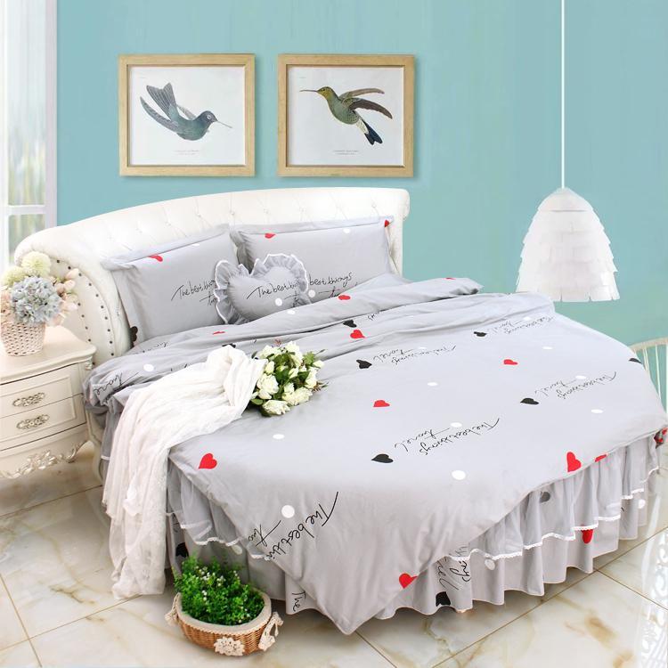 Cotone grigio Letto Rotondo letto di regina super king size Imposta Duvet copriletto 4pcs Set quiltcover rotonda lenzuolo Morden rotonda Biancheria da letto Kit