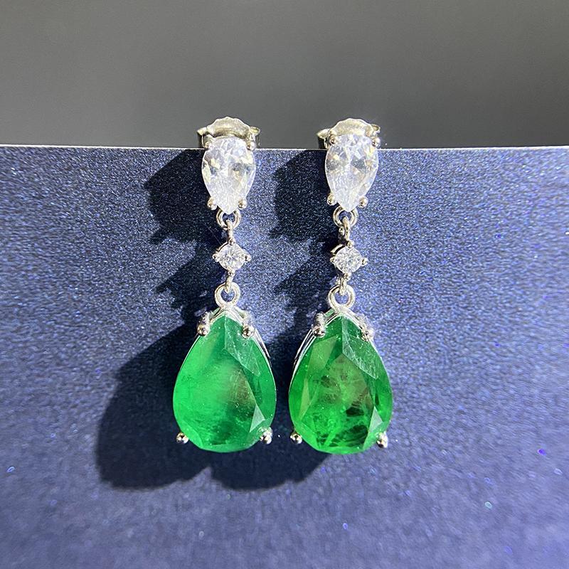 Мода стерлингового серебра 925 Элегантный Sterling Щепка Зеленый Создан Сапфир падения стержня серьги для женщин ювелирные изделия