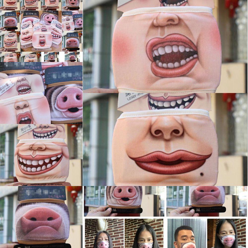 3D Yüz Maske Pamuk toz geçirmez Ağız Karikatür Sevimli Domuz Maskesi Kişilik Yıkanabilir İçin Kadın M W3YZ