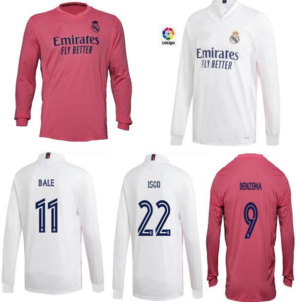 20 21 reales camisetas de manga larga de fútbol 2020 Madrid 2021 peligro ASENSIO Vinicius JR SERGIO RAMOS BENZEMA pacas Modric camiseta de fútbol CAMISETAS