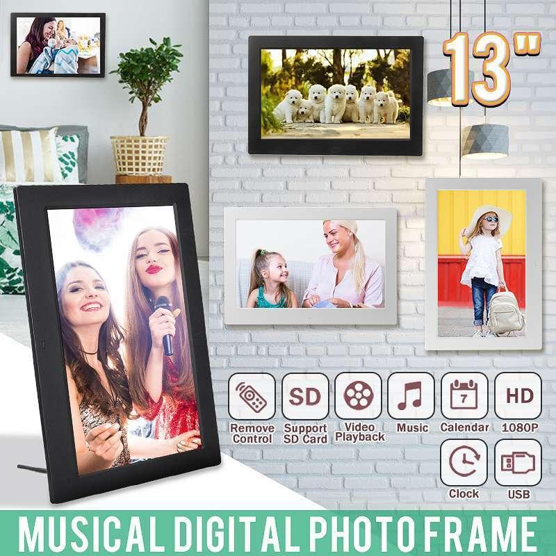 Leory 13'' 1080P HD Digital Photo LED Frame Picture MP4 Movie Player Clock Calendar Package Gift for Display with Remote