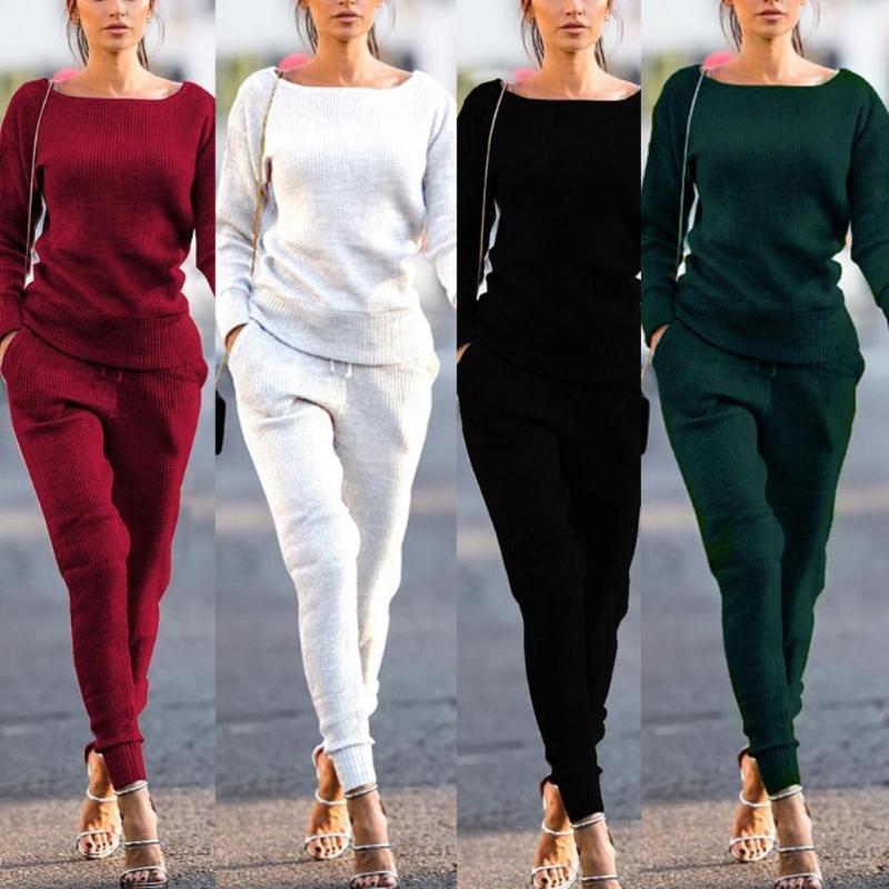 2Pcs Женщины Осень Solid Color ребристые O Шея Top Drawstring штаны Спортивные костюмы
