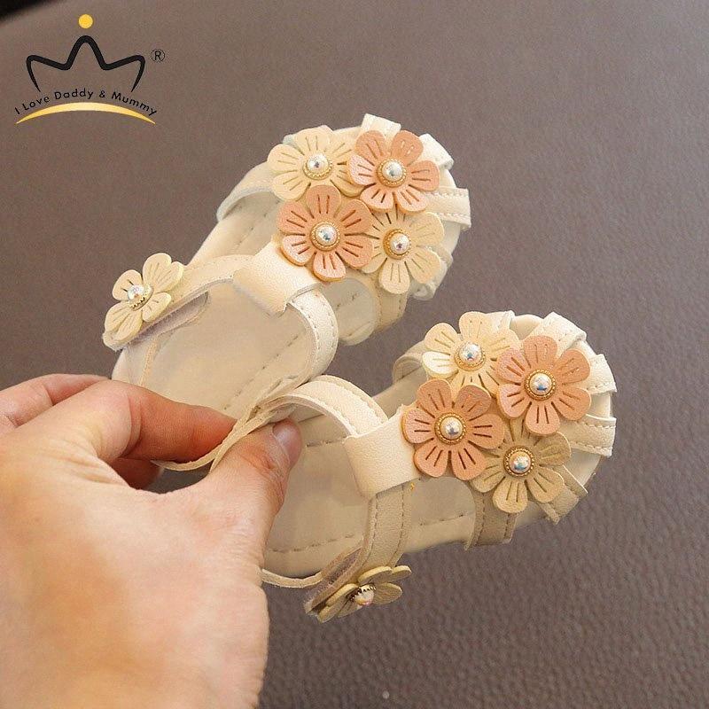 Sommer-Baby-Sandalen aus weichem Leder nette Blumen-Perlen-Prinzessin Babyschuhe Non Slip Gummisohle Säuglingskleinkind Mädchen Sandalen Jungen Sa W5eg #